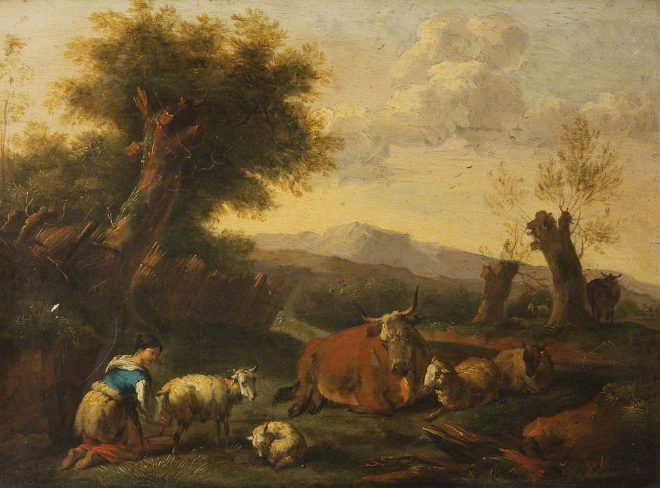 Landscape with Cattle, Sheep and a Peasant Girl