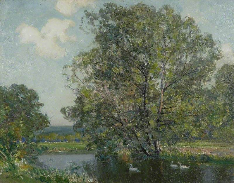 Landscape with River and Swans
