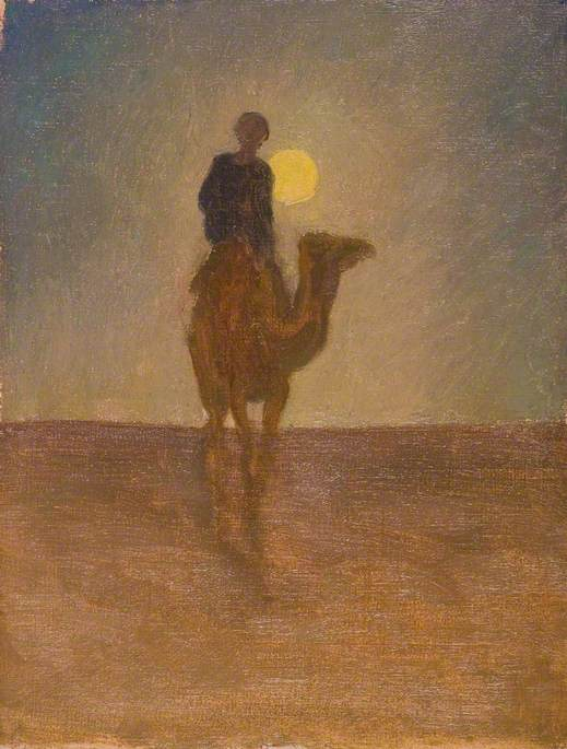 Man on a Camel with the Sun Behind