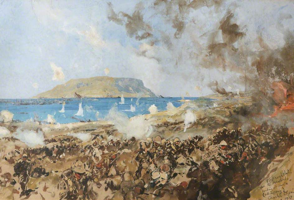 First Sketch for 'The 1st Battalion, Herefordshire Regiment (TF), Landing at Suvla Bay, Gallipoli, Turkey, 9 August 1915'