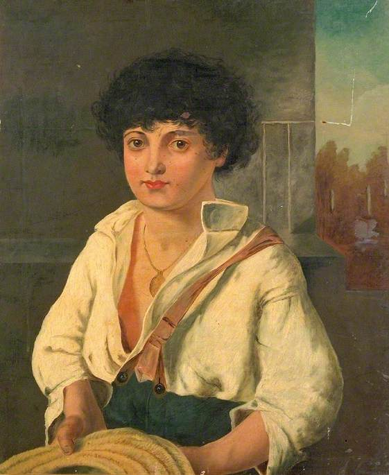 Portrait of an Unidentified Boy with a Straw Hat