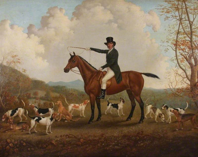 Robert Luther (d.1862), of Acton, Shropshire, on His Favourite Old Mare, 'Hesperus', with a Few Hounds before a Landscape