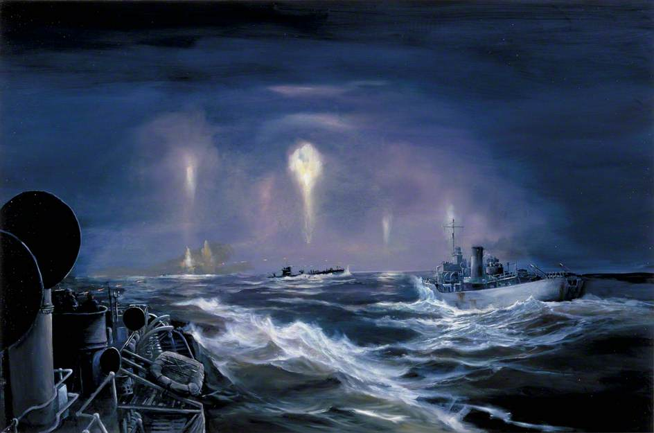 Night Action: Crew Abandoning Sinking Submarine U-70, 7 March 1941