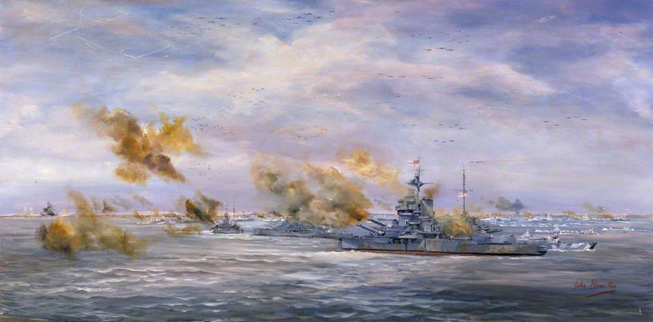 D-Day Naval Bombardment: HMS 'Ramillies', HMS 'Warspite' and Monitor HMS 'Roberts' Bombard the Beaches