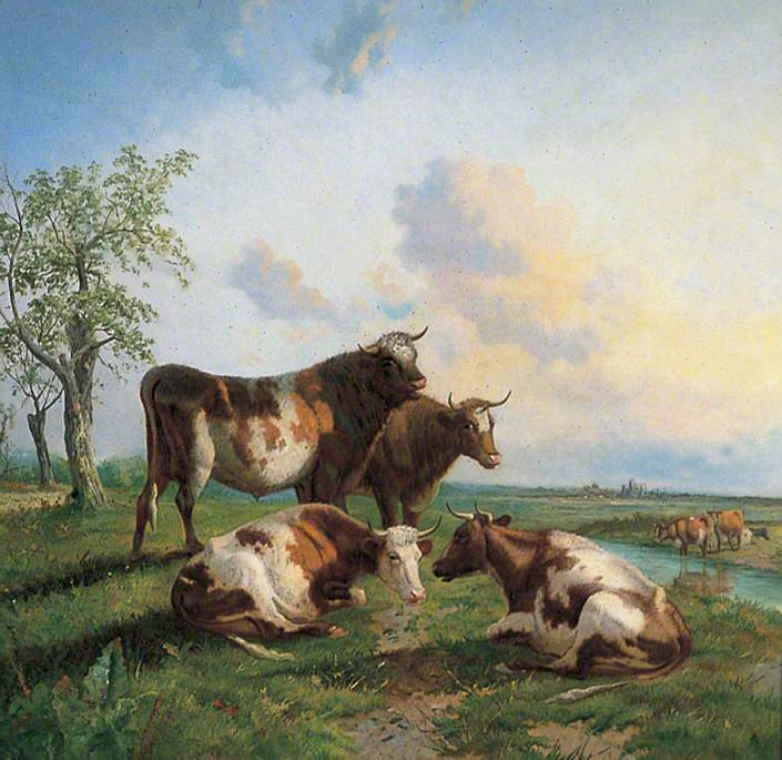 Cattle on the Banks of the River Stour