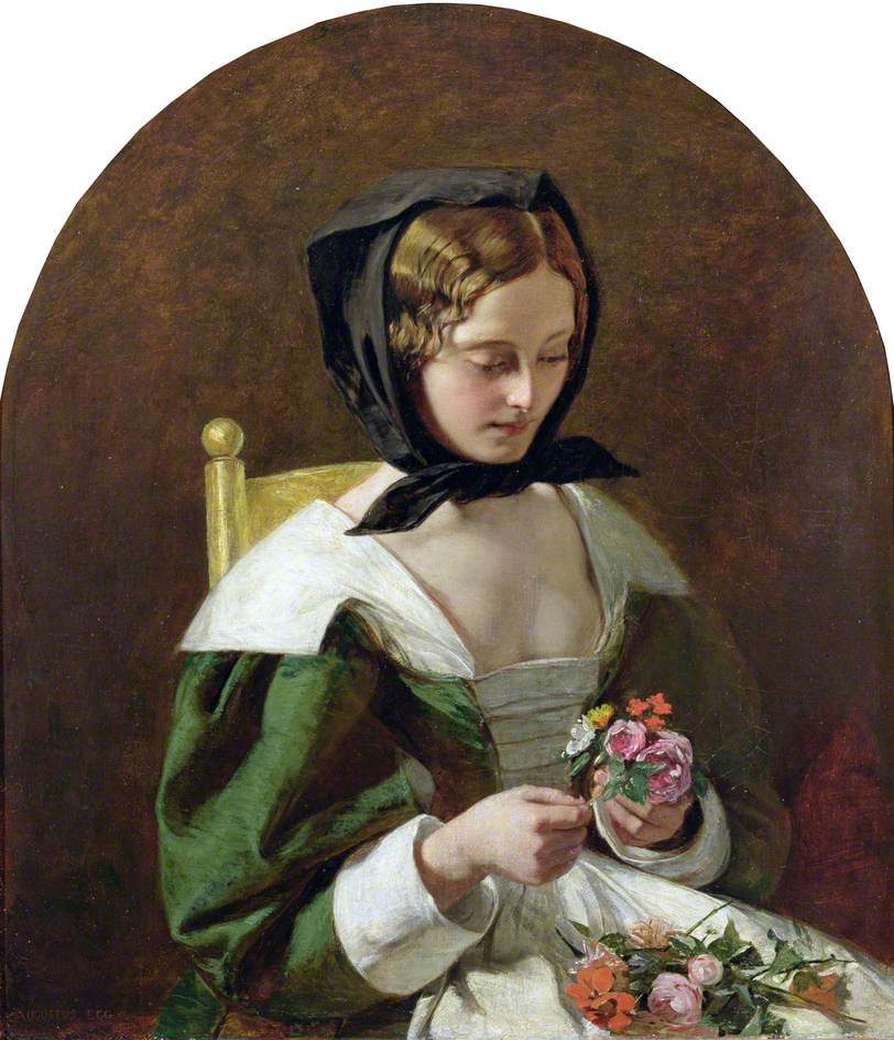 Girl Making a Bouquet of Flowers