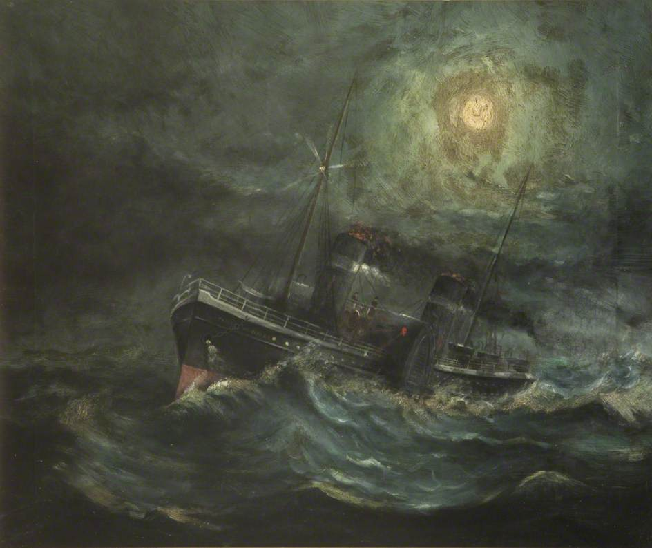 Paddle Steamer in Stormy Sea
