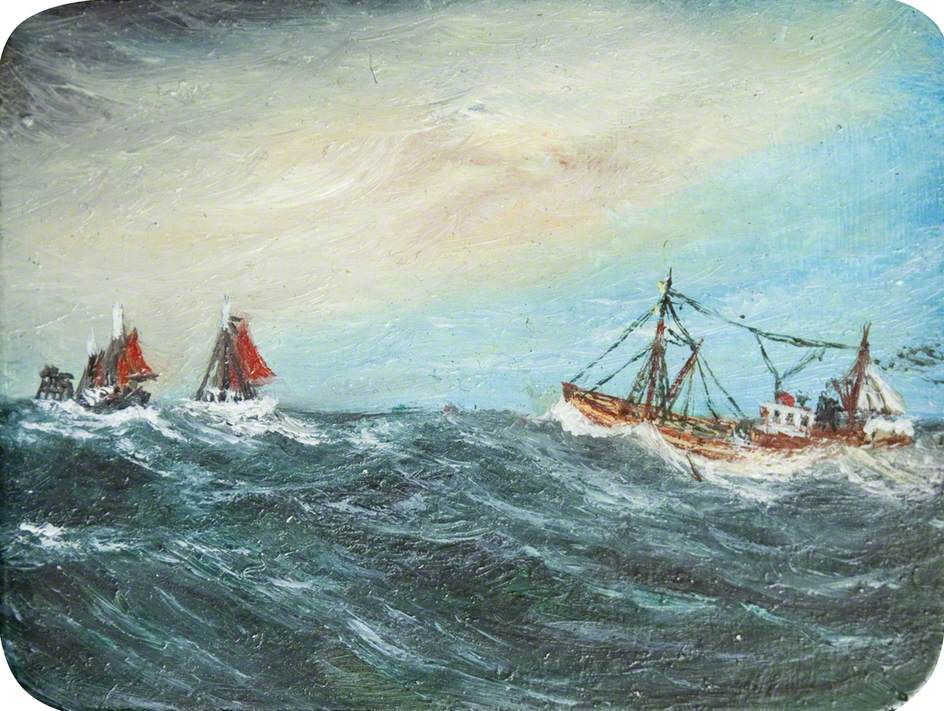 Two Boats with Red Sails
