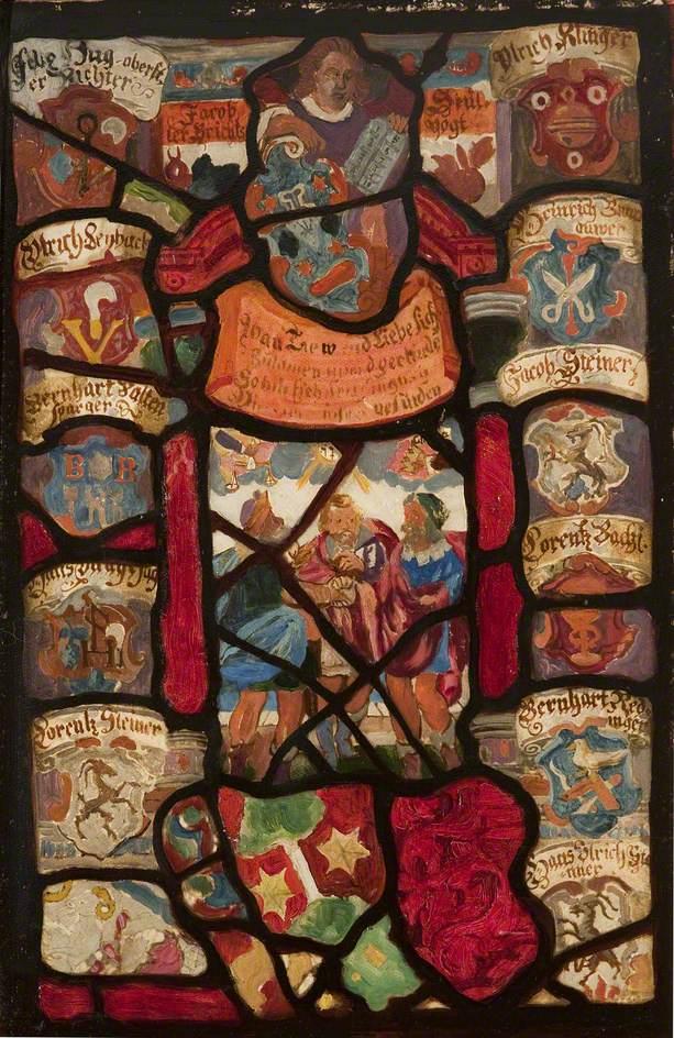 German Heraldic Piece with Three Figures
