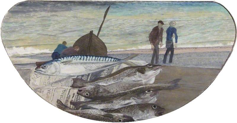 Mackerel and Cod and Oxo and Leon Coming up the Beach