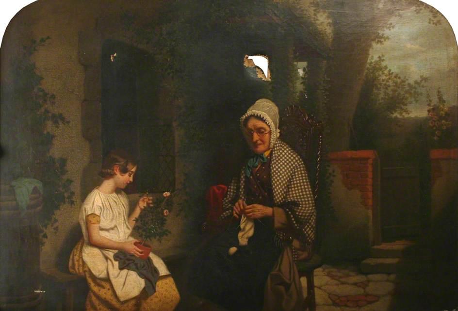 An Old Woman Knitting and a Girl Holding a Pot Plant
