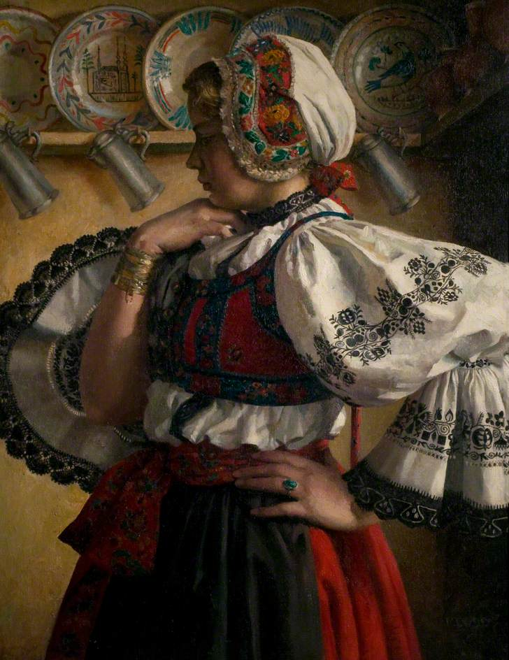 Girl in National Costume, in an Interior