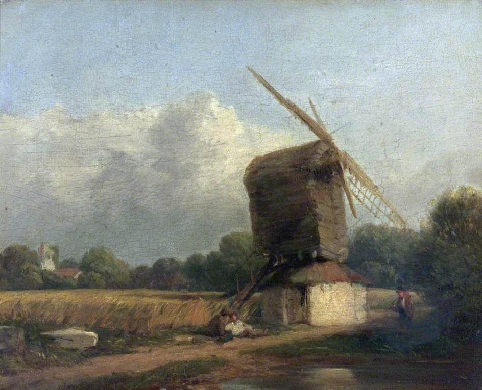Cornfield with a Windmill