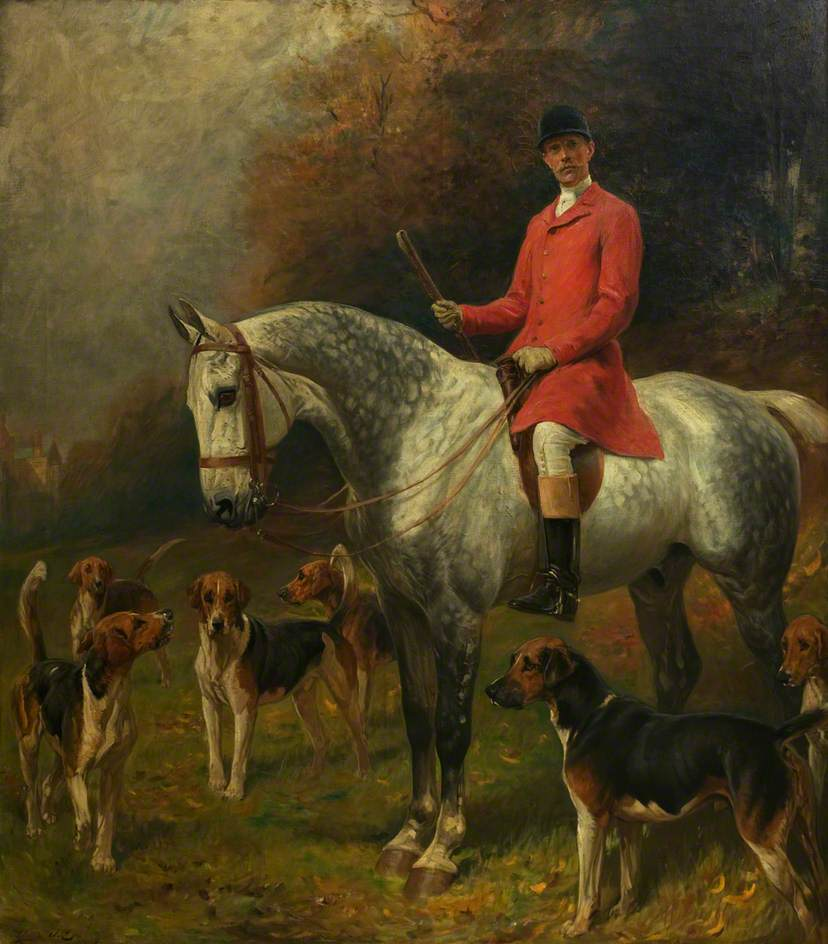 Equestrian Portrait of Captain Burns Hartopp with Hounds