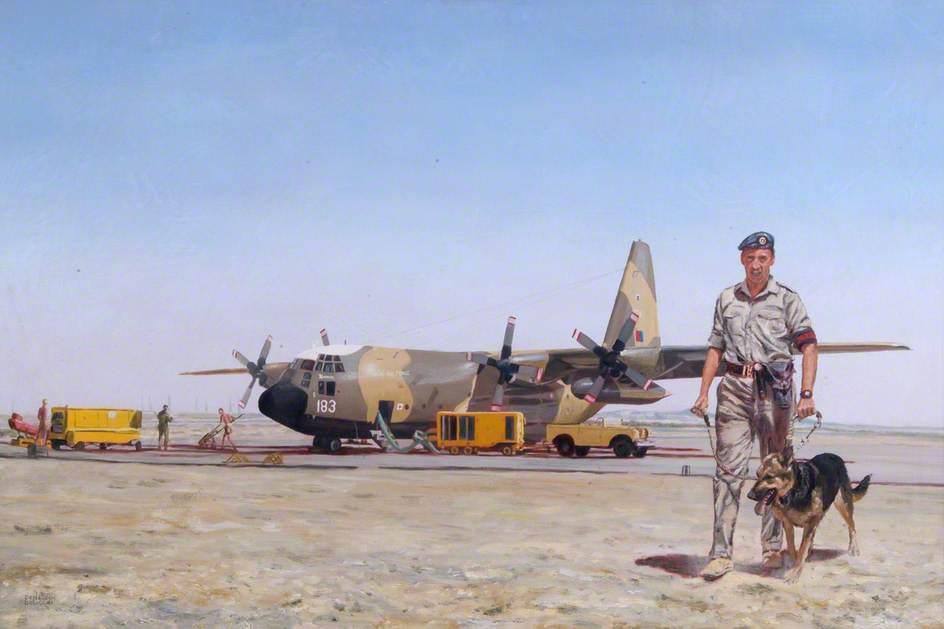 Hercules Aircraft and Dog Handler