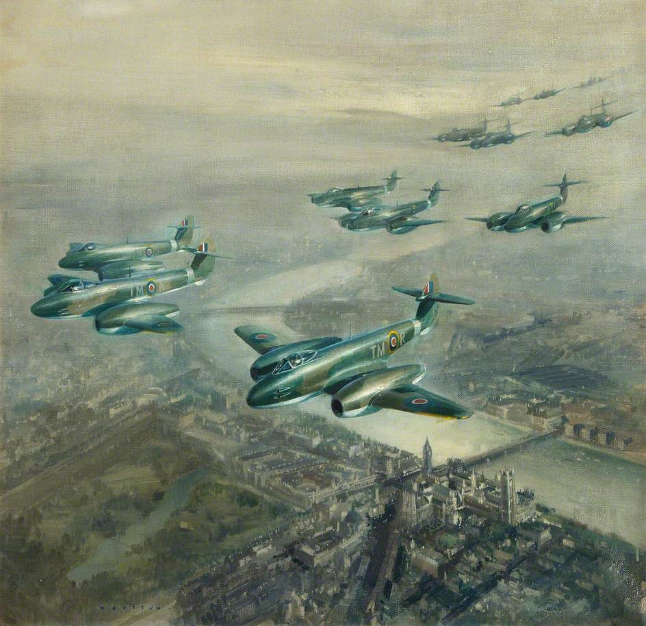 Meteor Mk 1s in Fly Past over Central London