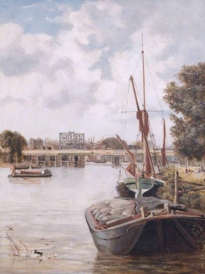The Present Hammersmith Bridge, London, under Construction, Showing the Temporary Bridge
