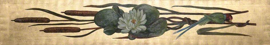 Waterlily, Parrot and Bullrushes on a Gold Background*