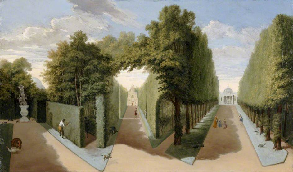 A View of Chiswick House Gardens with the Bagnio and Domed Building Alleys