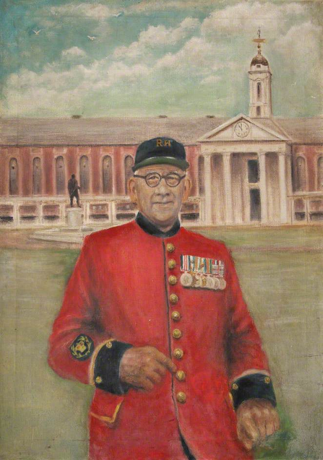 Portrait of an In-Pensioner with the Hospital in the Background*