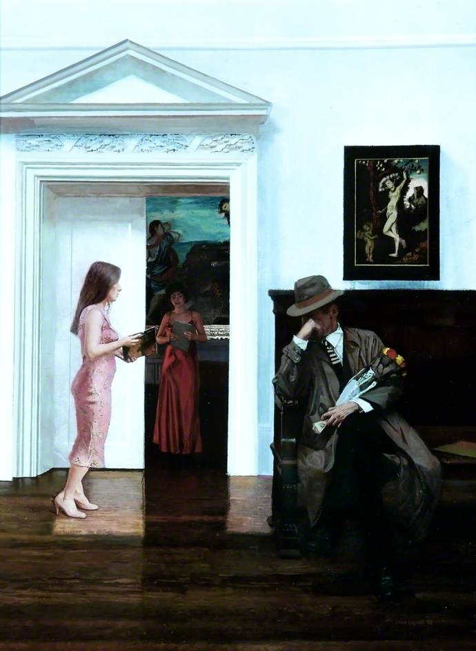Three Figures in a Gallery