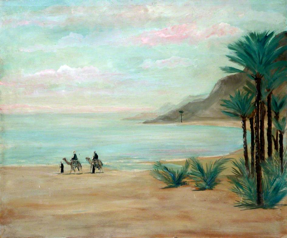 Landscape with Mountains and Camel Riders on a Shore