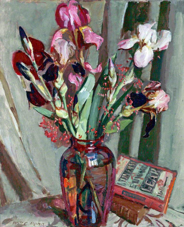 Iris in a Red Glass Vase