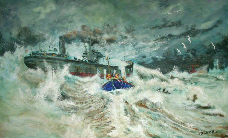 RNLB 'Henry Blogg' Attending a Steamer in Distress