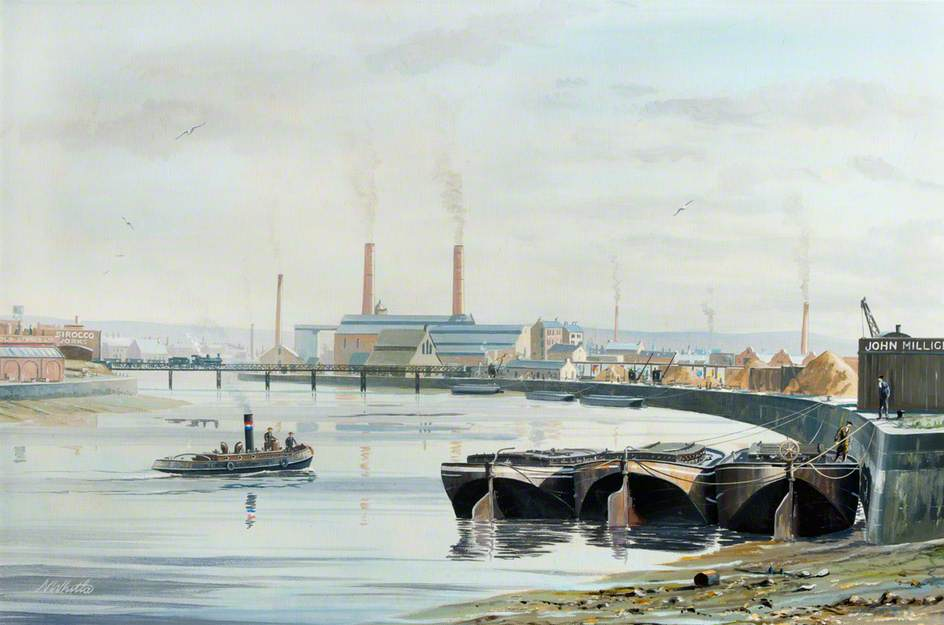 John Milligan and the Sirocco Works with a Boat in the Harbour