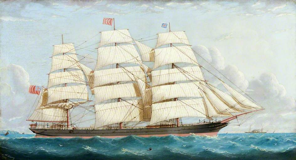 The Three-Masted Schooner 'Lord Dufferin' at Sea