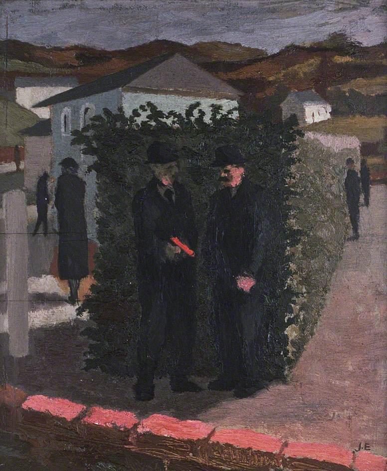 Two Men Outside a Chapel