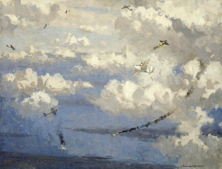 Air Battle between a Sunderland Flying Boat and Eight JU 88s