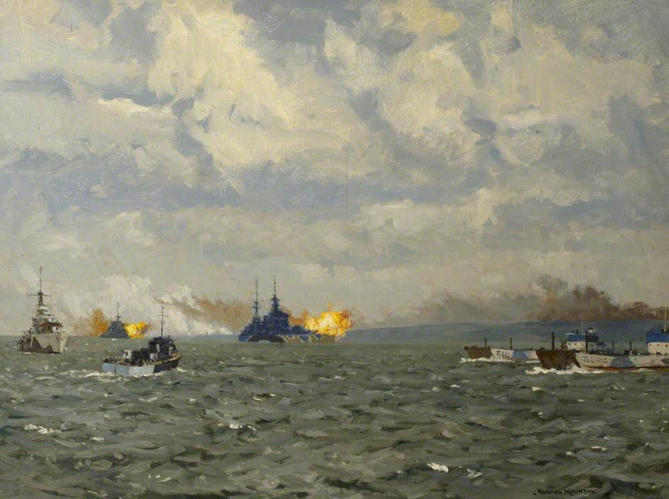 HMS 'Rodney' and 'Warspite' Firing on Shore Targets, 6 June 1944