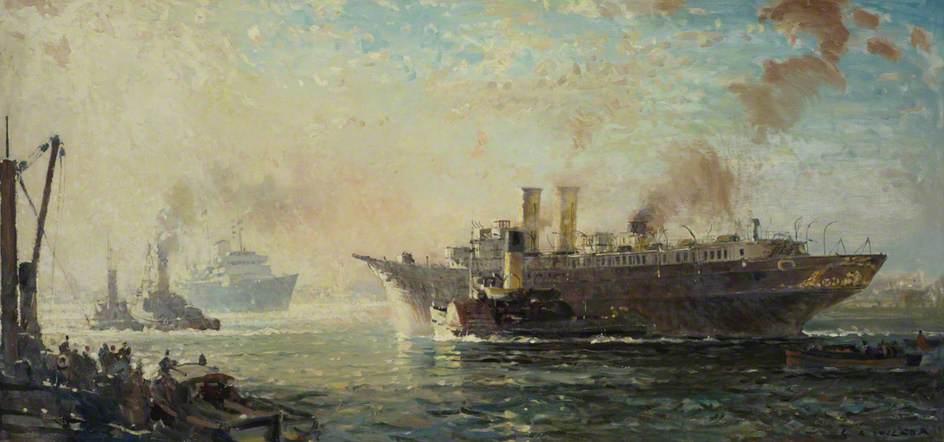 Last Voyage of HMY 'Victoria and Albert III' to the Breakers Yard, 1 December 1954