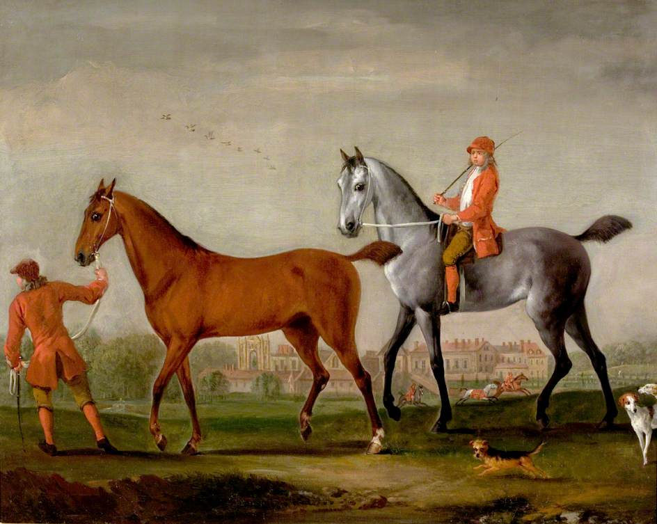 Two Racehorses with Grooms and Hounds in the Park at Newstead Abbey, Nottinghamshire