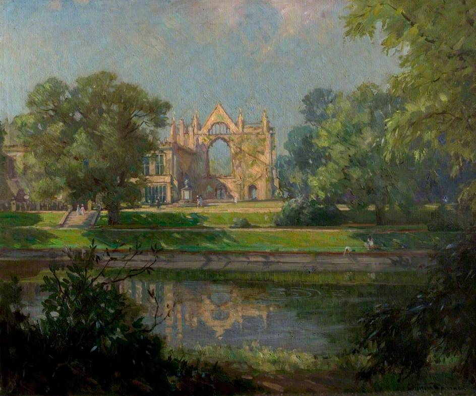 Newstead Abbey from the East, Nottinghamshire (Eagle Pond, Newstead Abbey)