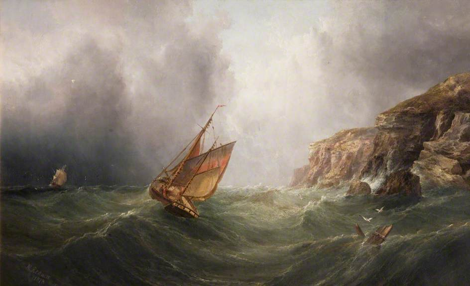 A Coastal Scene with a Cliff, a Fishing Boat and a Merchantman in a Storm