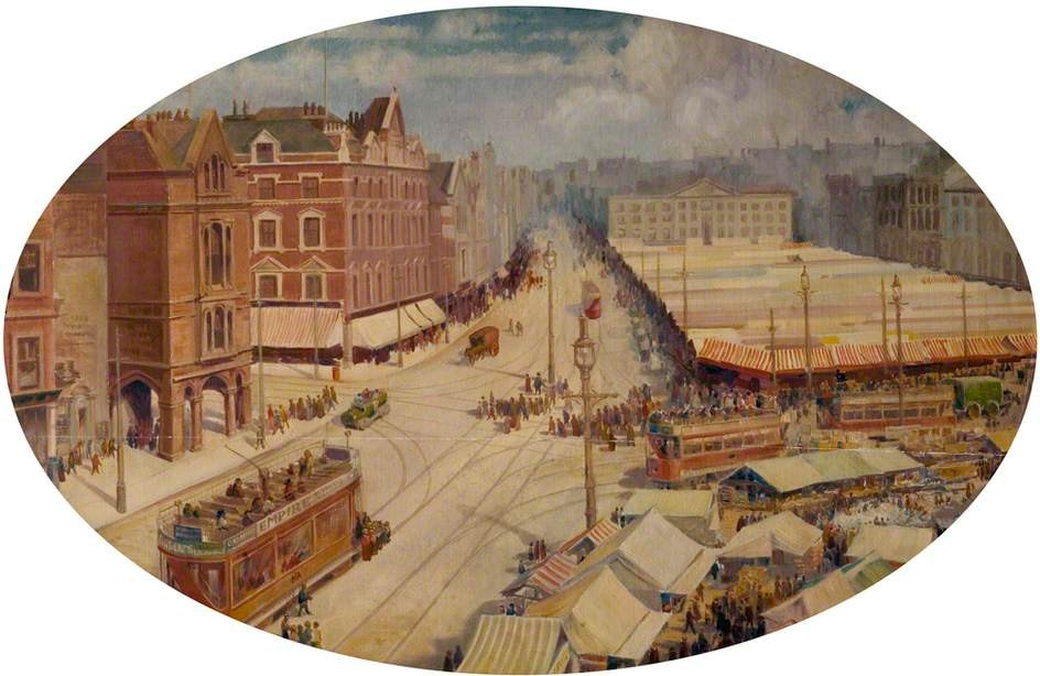 Nottingham Market Square, Pre-Council House Dome, on Market Day, with Trams in View