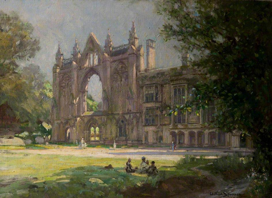 Newstead Abbey, Nottinghamshire, View from the Lawn, with Figures in Sunlight and Shade