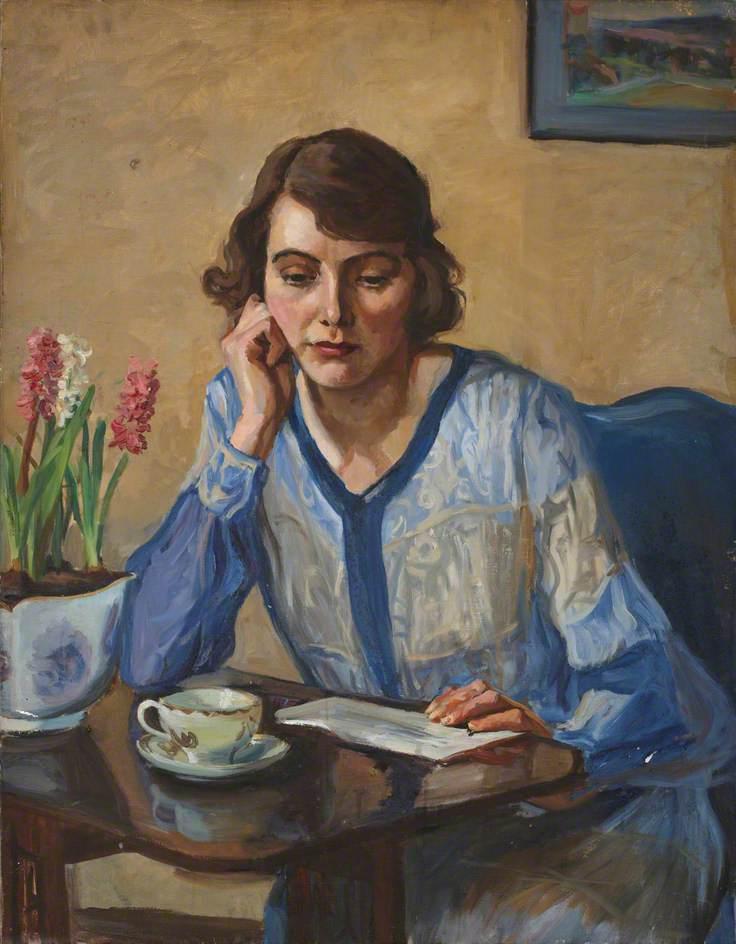 Lady in a Blue Cardigan with Hyacinths