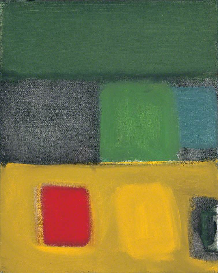 Small Red Square with Green and Yellow