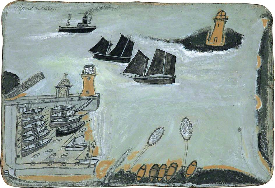 Three ships and lighthouse