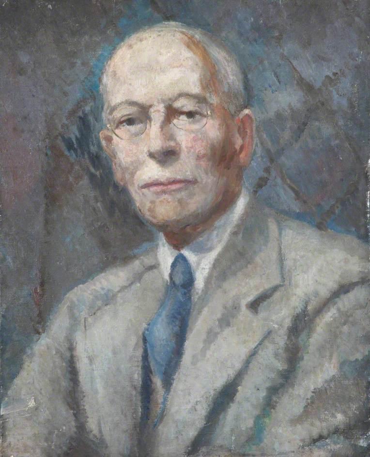 Portrait of a Man Wearing a Blue Tie