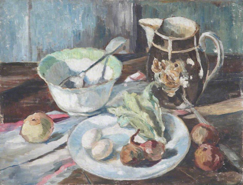 Still Life with Onions, Food on a Dish, a Spoon in a Bowl and Lustreware Jug