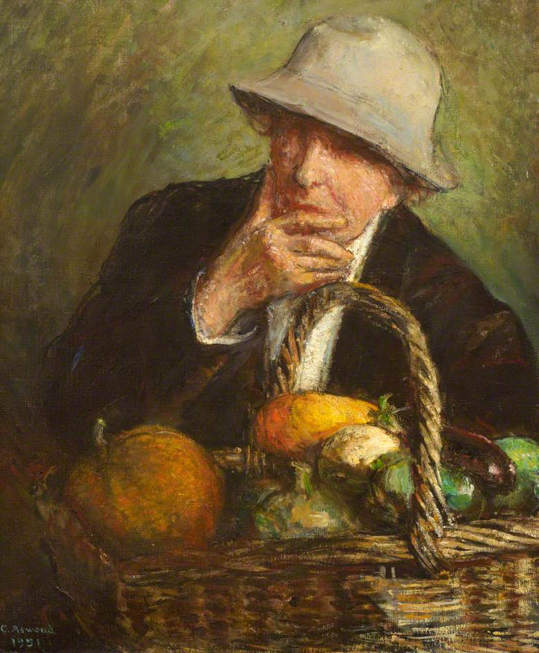Self Portrait in a Hat with a Basket of Vegetables