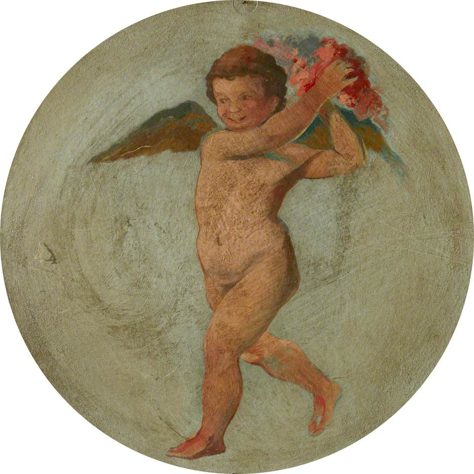 Ceiling Roundel: Putto Flying and Holding Up Flowers