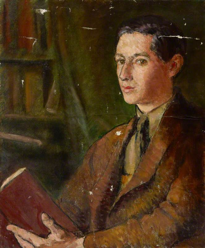 Portrait of an Unknown Young Man with a Book in a Library