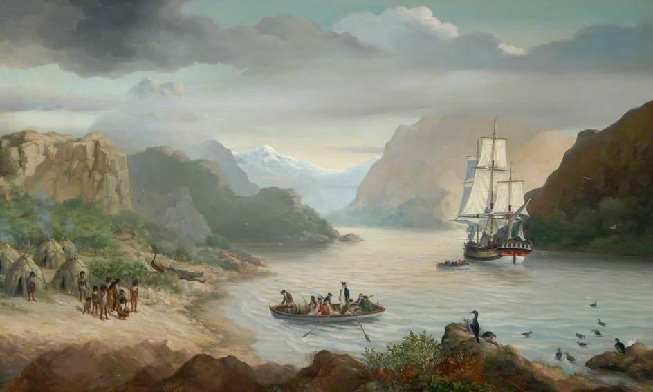 Captain Cook Landing in Christmas Sound, Tierra del Fuego, Chile