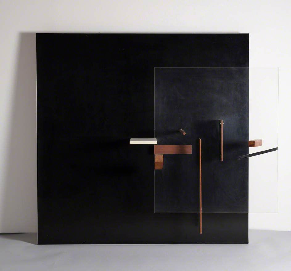 Abstract in Black, White and Mahogany, Relief Sculpture: Wood and Perspex