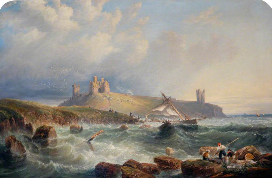 A Cutter in Distress to the South of Dunstanburgh Castle, Northumberland